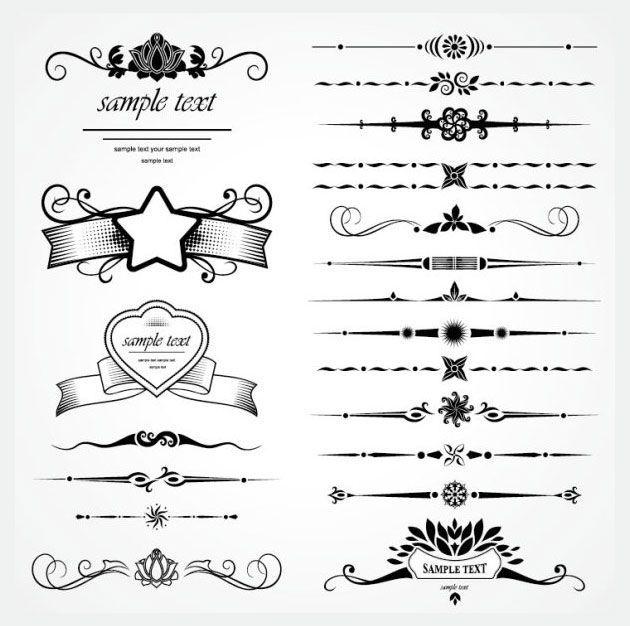 Декоративные разделительные линии для сайта в стиле ретро