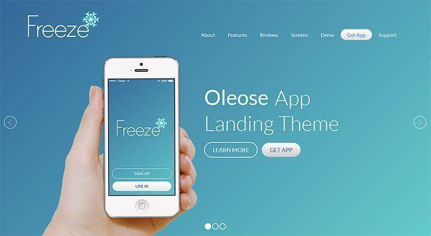 Oleose — захватывающий внимание шаблон одностраничного сайта