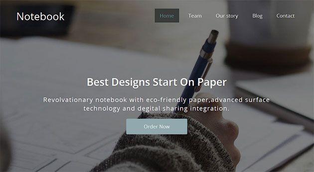 Notebook — свежий шаблон одностраничника с плоским дизайном