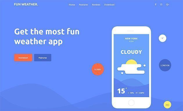 Weather Apps — бесплатный шаблон одностраничного сайта на Bootstrap