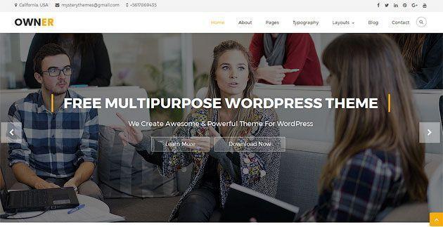 Owner — бесплатный шаблон одностраничника для WordPress