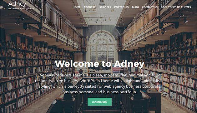 Adney — чистый, плоский, минималистический шаблон одностраничника на WordPress