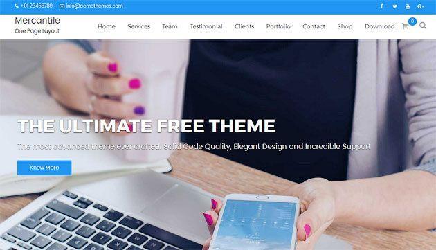 Mercantile — мощный и многофункциональный шаблон одностраничного сайта на WordPress