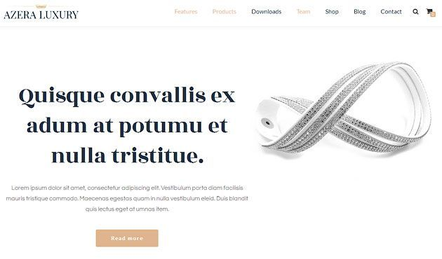 Azera Shop Luxury — элегантный бесплатный шаблон одностраничного сайта на WordPress WooCommerce