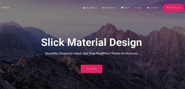 Hestia — одностраничный шаблон сайта в стиле material design