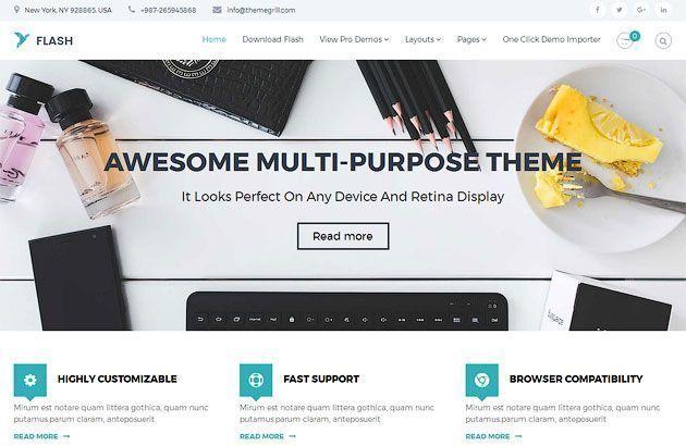 Flash — бесплатный многоцелевой шаблон одностраничного сайта на WordPress