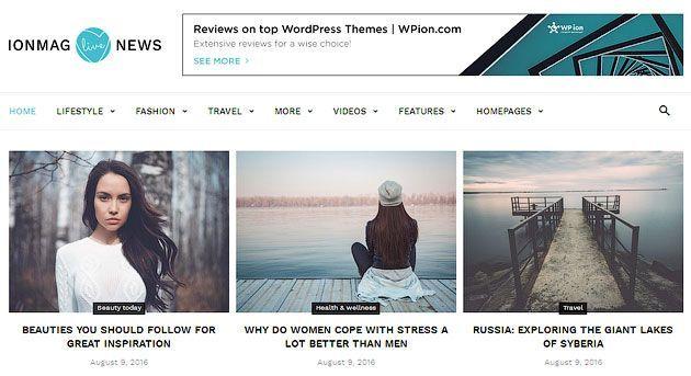 IonMag — красивый, отзывчивый с поддержкой ретина-экранов шаблон одностраничника на WordPress