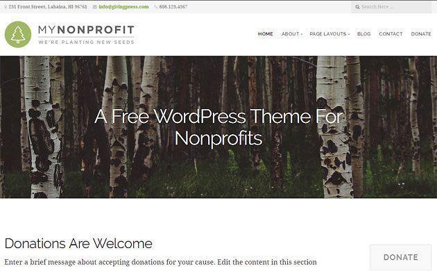 GivingPress Lite — идеальный бесплатный шаблон одностраничного сайта для WordPress