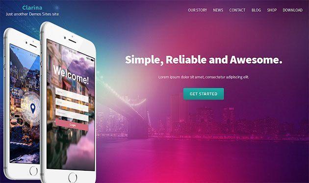 Clarina — бесплатный и красивый одностраничный шаблон сайта на WordPress