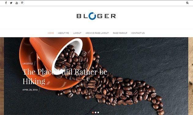 Bloger — простой, чистый и минимальный шаблон для блога на основе одностраничника