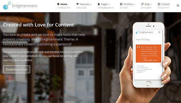Enlighten — отзывчивый, бесплатный шаблон одностраничного сайта на WordPress