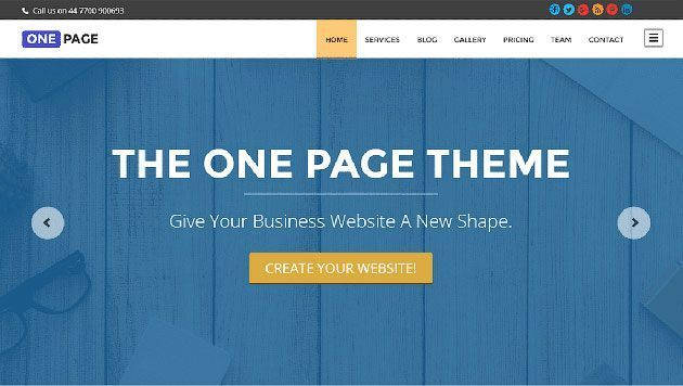One Page — профессиональный и выдающийся шаблон одностраничника на WordPress