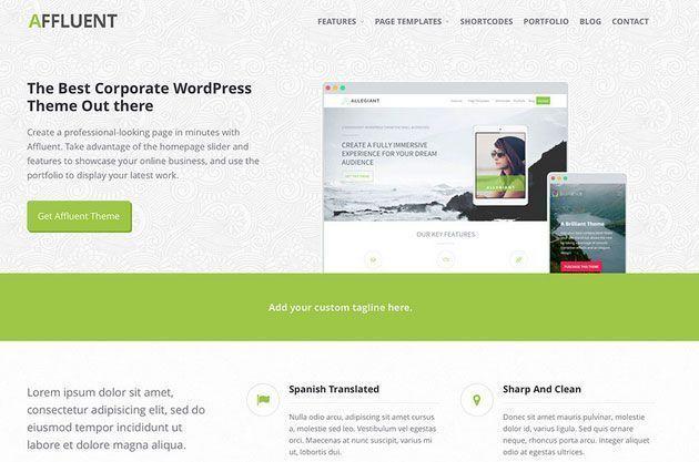 Affluent — бесплатный корпоративный шаблон WordPress