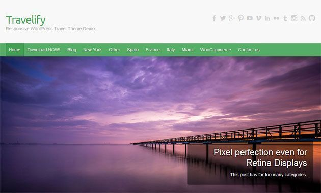 Travelify — красивый, плоский шаблон WordPress для туристических сайтов