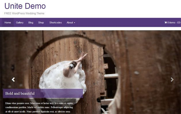 Unite — стильный шаблон WordPress для свадебного сайта
