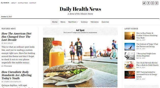 Mission News — классический и отзывчивый шаблон WordPress