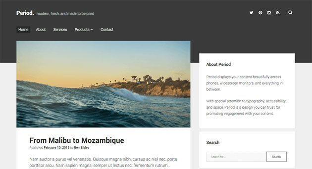 Period — темный, чистый и оптимизированный для SEO шаблон WordPress