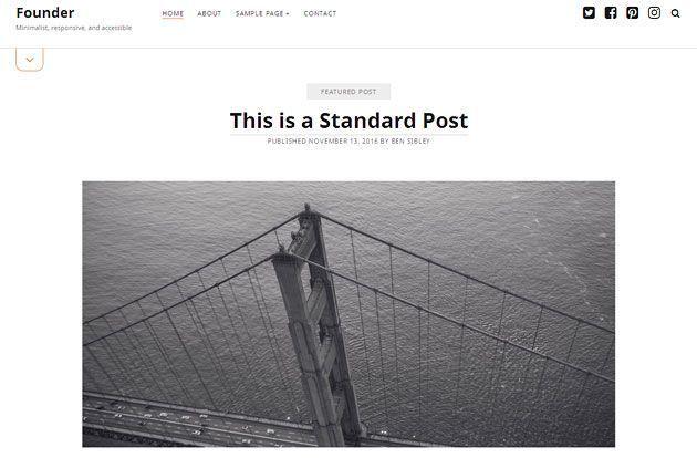 Founder — простой и чистый шаблон WordPress