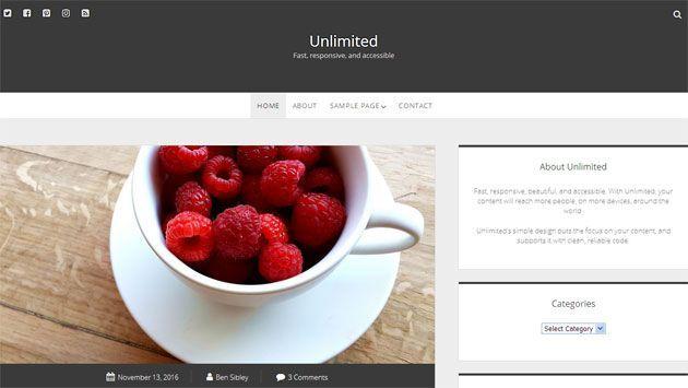 Unlimited — быстрый, отзывчивый и красивый шаблон WordPress для блогов