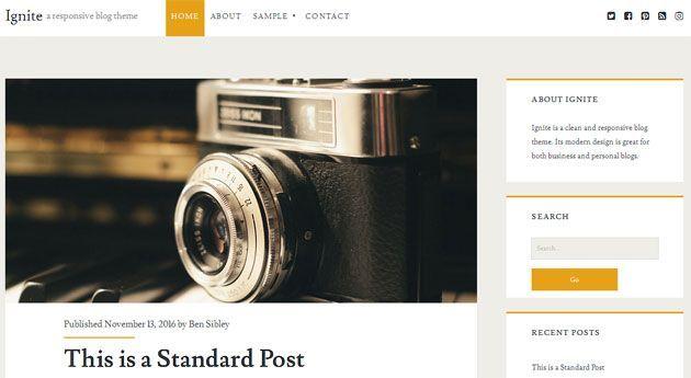 Ignite — чистый, бесплатный и отзывчивый шаблон WordPress для блога