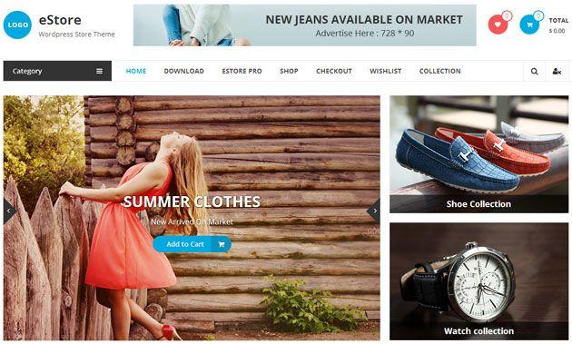 eStore — чистый, красивый и отзывчивый шаблон WordPress для интернет-магазина