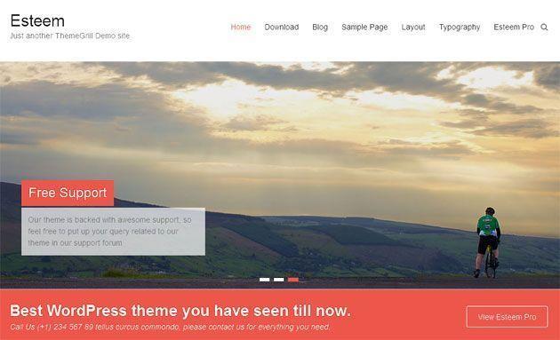 Esteem — чистый и простой шаблон WordPress с плоским дизайном