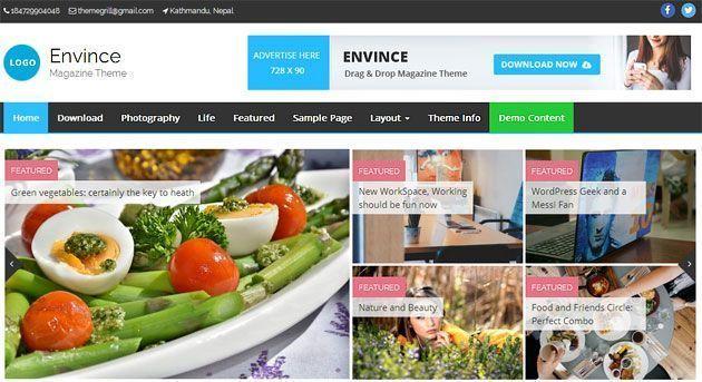 Envince — шикарный журнальный премиум шаблон WordPress