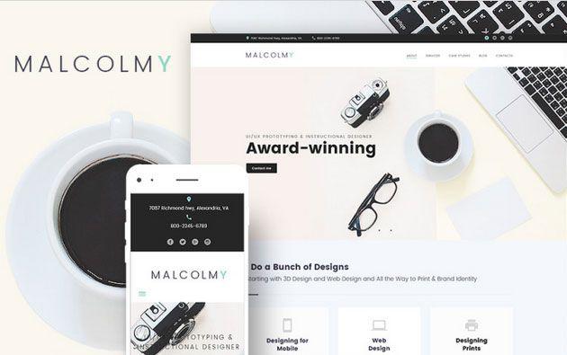 MalcolmY — отличный WordPress шаблон для сайта-портфолио дизайнера фрилансера