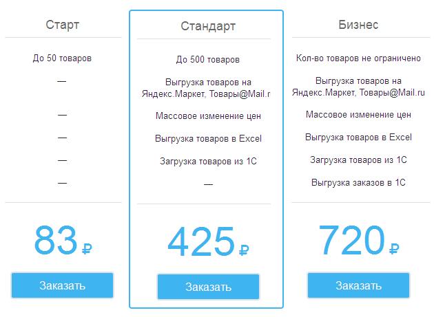 Тарифы конструктора интернет-магазина Sales 365